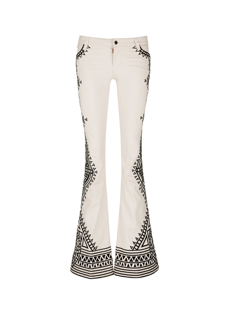 Alice + Olivia 'Ryley' tribal embroidery flare jeans ($675)