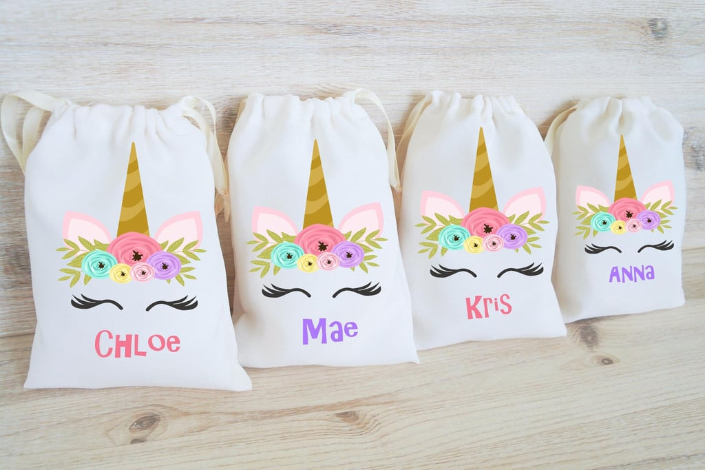 personalized unicorn drawstring treat bags unicorn goodie bag