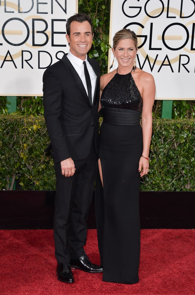 At the 2015 Golden Globe Awards, Jen and Justin matched in black. She wore a Saint Laurent gown, which she paired with Neil Lane jewels.