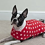 Reversible Polka Dot Print & Pink Fleece Dog Coat, $35
