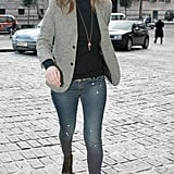 Kate rarely steps out without a belt holding up her low-cut skinnies. Look for vintage finds to copy her style.