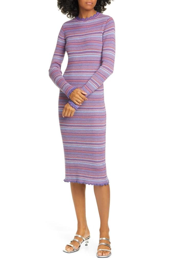 Stine Goya Tinita Stripe Long Sleeve Wool Blend Dress