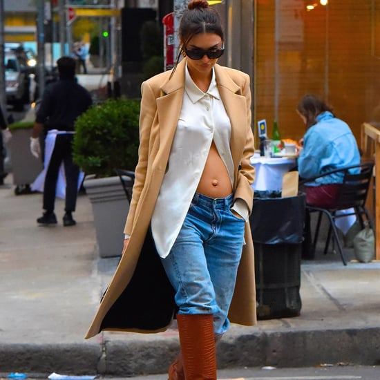 Emily Ratajkowsk Leaves Shirt Unbuttoned to Reveal Baby Bump