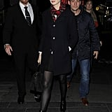 Anne Hathaway showed off her legs in black tights.