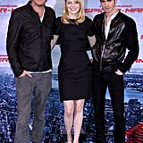 Costars Rhys Ifans, Emma Stone, and Andrew Garfield got together at the Berlin photocall for The Amazing Spider-Man.