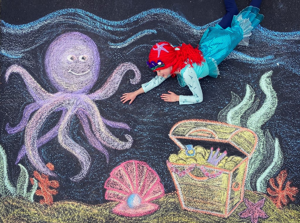 Mermaid Sidewalk Chalk Art