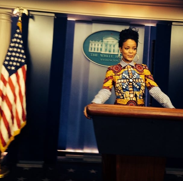 "Rihanna popped up at the White House on Monday, and not only did she share photos of her visit via Instagram, but she also made sure to pay homage to one of her favorite TV shows. The singer wrote Scandal-themed captions for all of her snaps; a sexy shot while talking on the phone said, ""Fitz, darling. . ."" and a group photo was titled, ""West Wing Posse!! We wanna be O.P.A. so bad!!! #DayAtTheWhiteHouse."" Rihanna recently made her triumphant return to Instagram after having her account accidentally suspended back in May; according to the photo sharing app, the singer's frequent racy shots got caught by a spam filter. While Instagram apologized in a statement at the time, Rihanna chose to keep her profile inactive for about six months before posting a new selfie to announce her return last week. Since then, she's been spending time in NYC and even met up with Robert Pattinson and his girlfriend, FKA Twigs, at the Mugler Ball on Saturday. Keep reading for photos of Rihanna's Olivia Pope-inspired trip to Washington DC."