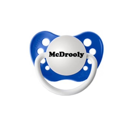 This McDrooly pacifier ($6) is perfect for a McDreamy in the making.