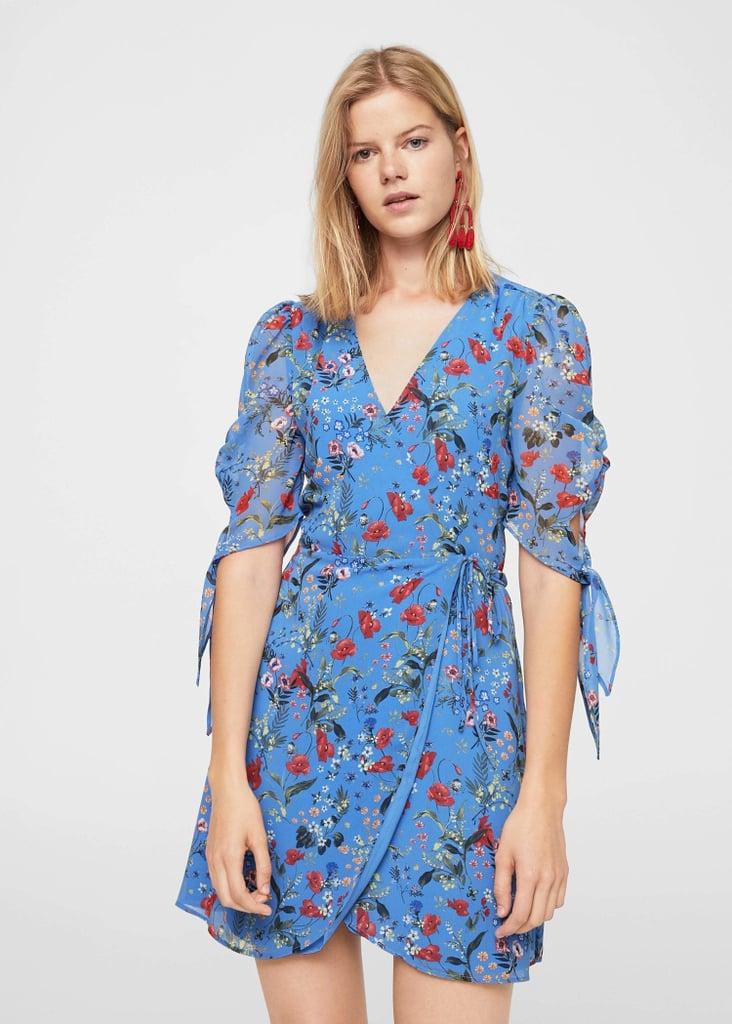 Mango Floral Dress | Selena Gomez\'s Blue Rouje Dress | POPSUGAR ...