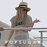 Avril Lavigne wore a crop top on a yacht.