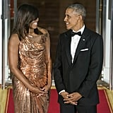 Barack couldn't take his eyes off of Michelle at their last state dinner in October (can you blame him?!).