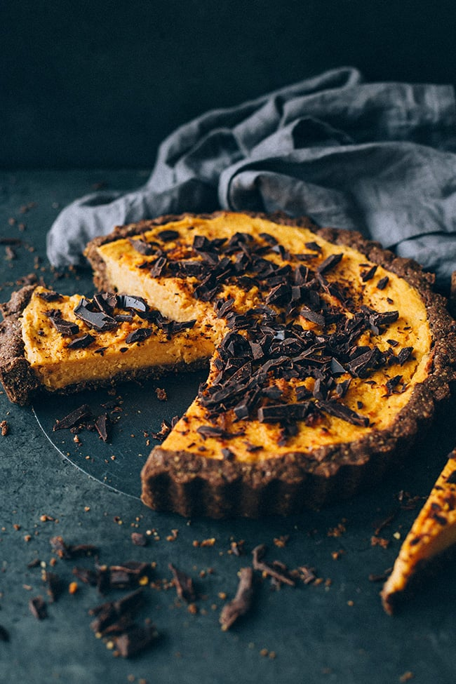 Vegan Sweet Potato Pie With Chocolate and Walnut Crust