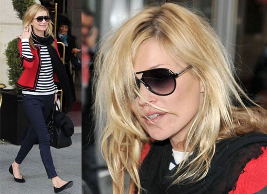 Photos of Kate Moss in Nautical Outfit at Paris Fashion Week Leaving the Ritz Hotel