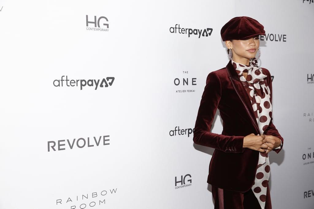 Zendaya's Tommy Hilfiger Red Velvet Suit at Fashion Week