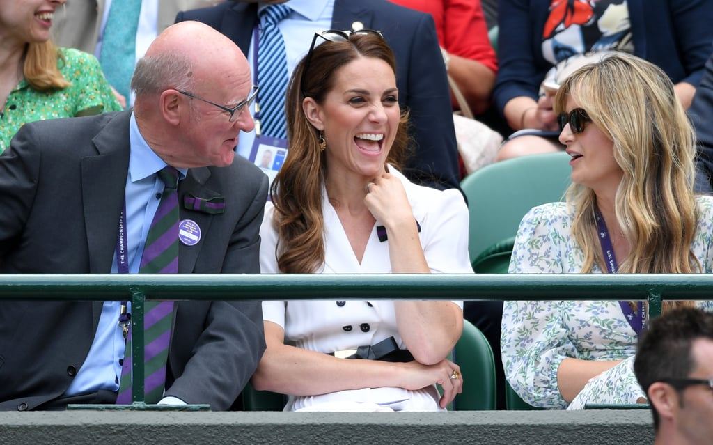 The Duchess of Cambridge was a very early attendee of the Wimbledon tennis championships on Tuesday, when she took a seat in the tiny stands of Court 14 to watch an early match between British hopeful Harriet Dart and American player Christina McHale. Perhaps she brought a little royal luck to proceedings, as the Brit won her place in the next round (and left a sweet message on social media for her royal supporter).      Related:                                                                                                           I Know You're Obsessed With The Duchess of Cambridge's Wimbledon Dress, but Let's Talk About Her Bows               Later that day, Kate moved to the more familiar surroundings of the royal box, where she was seen getting very animated as she watched proceedings on centre court. As patron of the All England Lawn Tennis and Croquet Club, the duchess is definitely no stranger to Wimbledon, and often makes multiple appearances at the championship. Last year, she was joined by her sister-in-law Meghan Markle, and the Duchess of Sussex is expected to make an appearance at some point during this year's event too, probably to watch her close friend Serena Williams if she gets through the first round. While we wait for new royal appearances as Wimbledon progresses, take a look at Kate's first courtside moments now.