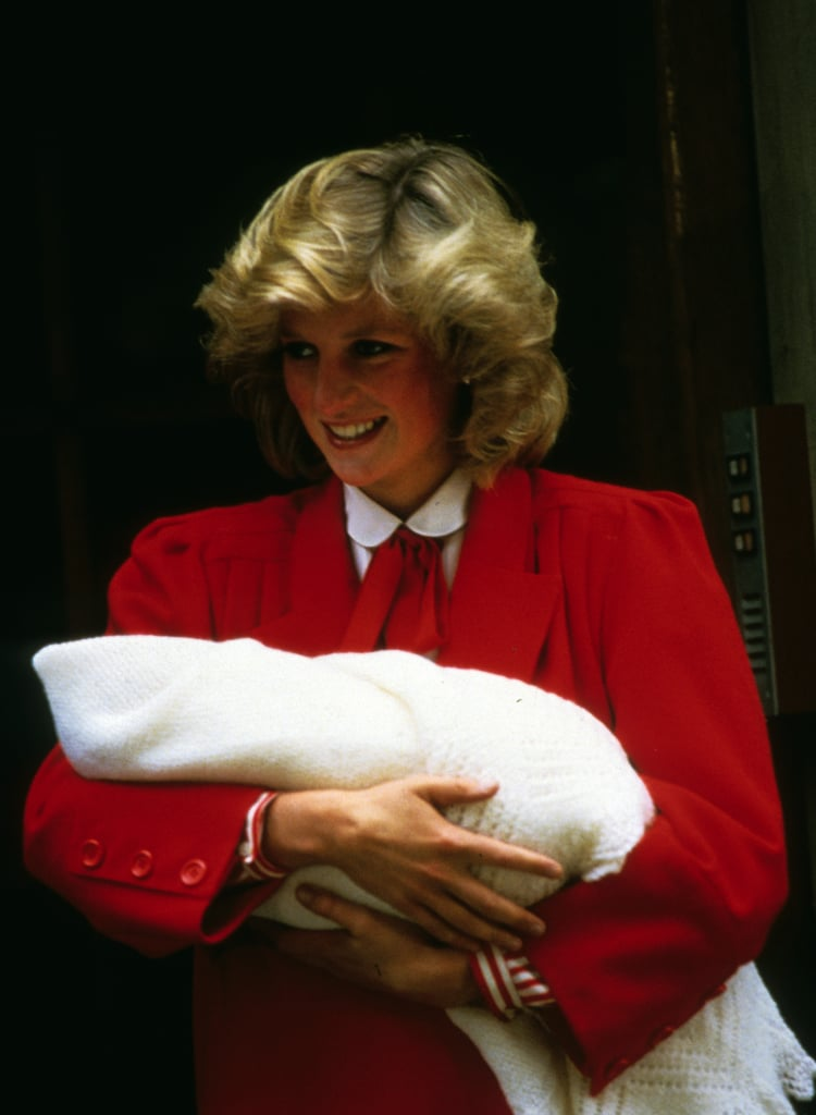 Princess Diana beamed while holding a newborn Prince Harry outside St. Mary's Hospital in September 1984.