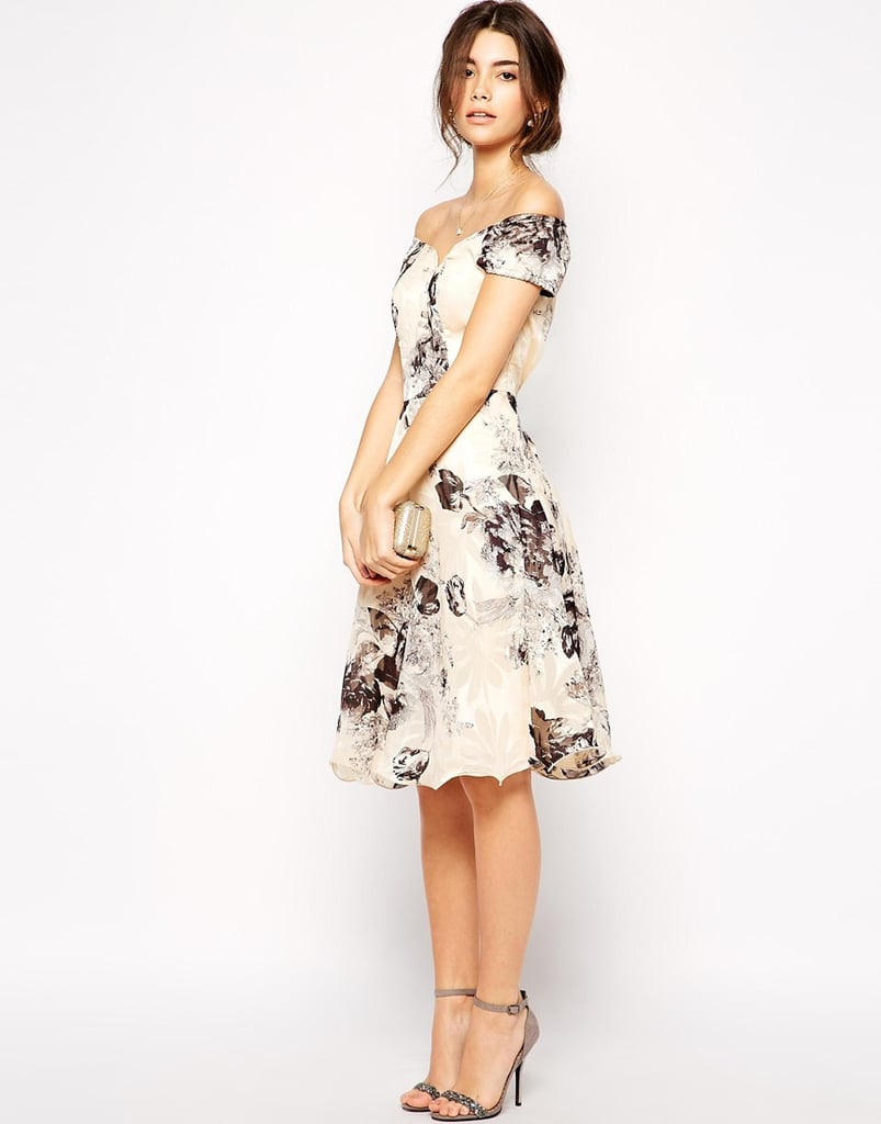 a7de97701bed Chi Chi London Premium Oversize Mono Floral Midi Dress With Bardot Neck