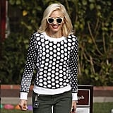 Gwen Stefani owns these Karen Walker shades in vanilla (£175) and wore them with her Michael Kors dotted sweater while dropping her kids off at school.