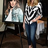POPSUGAR: You're the face of Express's Fall '14 denim campaign, so we're obviously curious what your favorite pair of jeans are and how you style them day to night. Kate Upton: I love skinny jeans, midrise. I've been wearing high-rise a lot lately, but I'm so tall, they end up being midrise anyway [laughs]. I love during the daytime wearing cute flats — maybe Sam Edelman, or Dolce [Vita] has really awesome embellished flats — to add something interesting, and putting just a t-shirt with it and a cute lip color. For night, I love heels and a blazer or a leather jacket.  PS: Obviously nostalgia is having such a huge fashion moment. What were some of your other teen mall hangouts or favorite stores? KU: It was Express, Claire's — I loved Claire's! In Florida, you're wearing bikinis, camis, jeans. You didn't really need a whole lot.