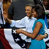 The Obamas waved to the crowd at a campaign rally in Richmond, VA.