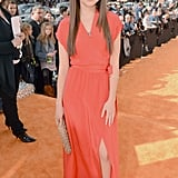 Modern Family's Sarah Hyland donned a cute red Myne dress and a sparkly nude clutch on the orange carpet in 2012.