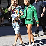 Hailey wore a Kelly green denim suit set when she stepped out with Justin in LA in August.