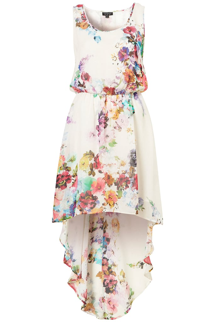 We love the watercolor printing on this asymmetrical-hem frock.  Topshop Bright Blossom Dip Hem Dress ($92)