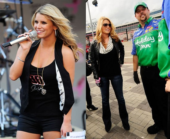 Photos of Jessica Simpson Singing at Lowe's Motor Speedway Nascar Bank of America 500, Recently Said She Wants Six Children