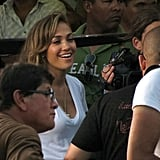 J Lo waited for cameras to start rolling.