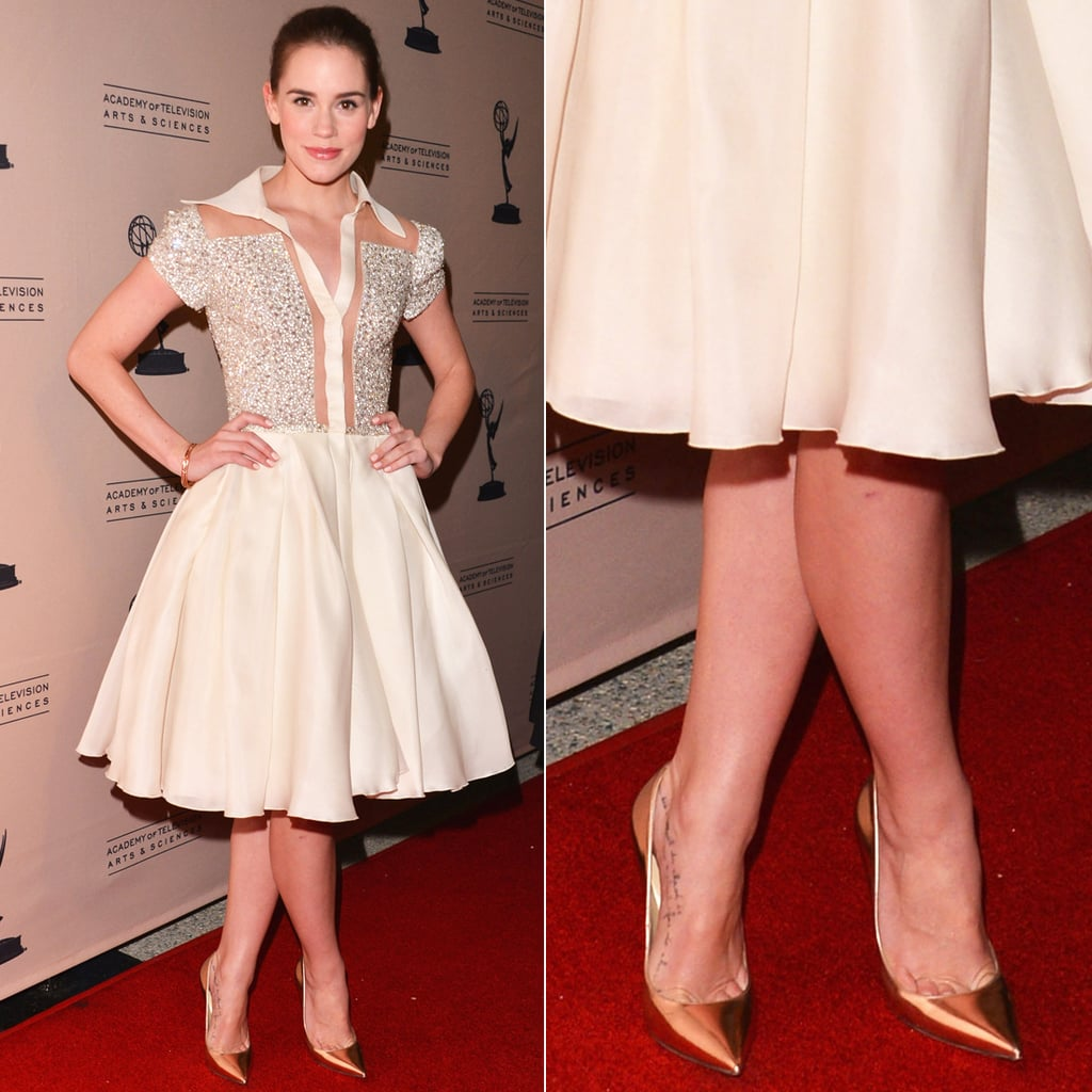 At an Academy of Television Arts & Sciences event in LA, Christa B. Allen showed off a fit-and-flare Georges Chakra Couture dress with a sequined bodice, then finished off with on-trend metallic pumps.