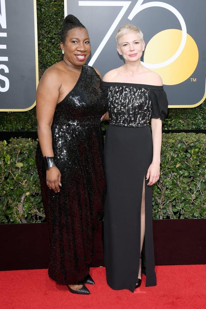 Michelle Williams And Tarana Burke At The 2018 Golden