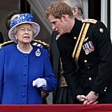 Prince Harry chatted with Queen Elizabeth on the balcony of Buckingham Palace during the annual Trooping the Colour ceremony in 2013.