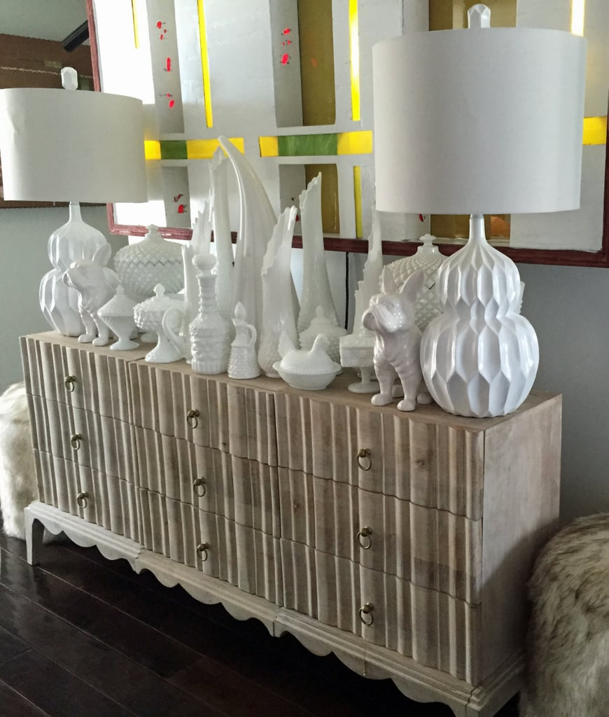 David styled his Madison Chest ($499) with a number of white objects on top.