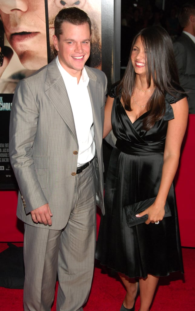 Matt and Luciana Damon smiled for photographers at the NYC premiere of The Departed in September 2006.