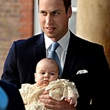 Prince William held onto little Prince George.