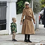 Gwen Stefani and Zuma Rossdale waited to cross the street.