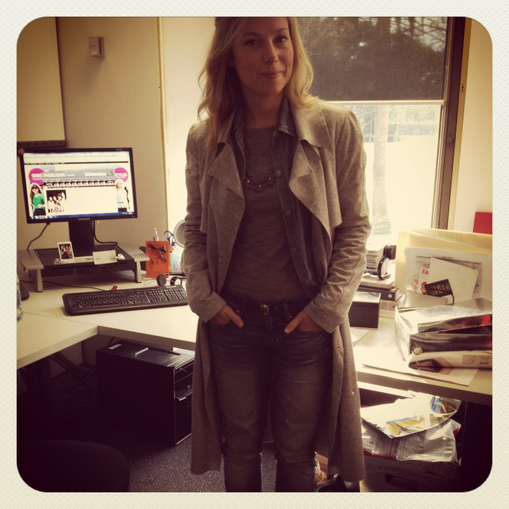 "Ali wears Kookai knit, Ralph Lauren shirt, Josh Goot trench, Love Obsessed necklace, Zara belt and Gap jeans. Ali's denim tip: ""I LIVE in my denim shirt. It works as a shirt by itself, as an extra layer when it's cold (like today!) or as a lightweight jacket. This RL one was actually a full-length shirt-dress, thrifted from Vinnies, that I cut off. Best. Buy. Ever"""