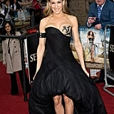 Working a lace-embellished Alexander McQueen creation, statement-making Philip Treacy headpiece, and lovely lace pumps, SJP was more than ready for the London premiere of Sex and the City 2 in 2010.