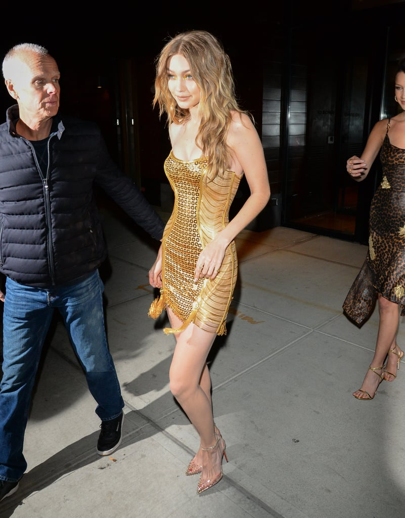 Gigi Hadid Gold Versace Birthday Dress 2018