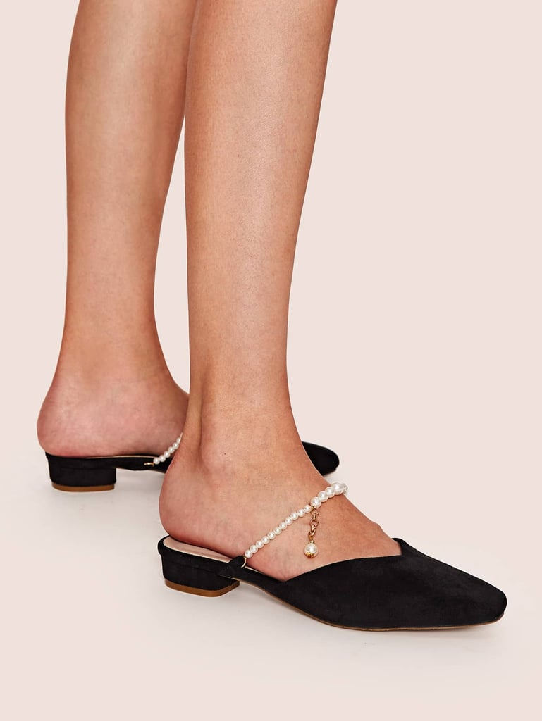 Shein Faux Pearl Decor Square Toe Flat Mules