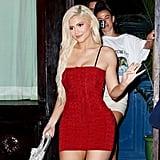 Kylie Jenner Red Alexander Wang Dress August 2018