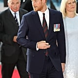 Prince Harry looked dapper as hell as he walked the red carpet at the Dunkirk premiere in 2017. He even met another famous Harry — Styles! — inside the event.