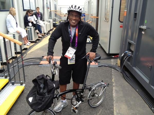 Al Roker biked to work in London.  Source: Twitter user todayshow