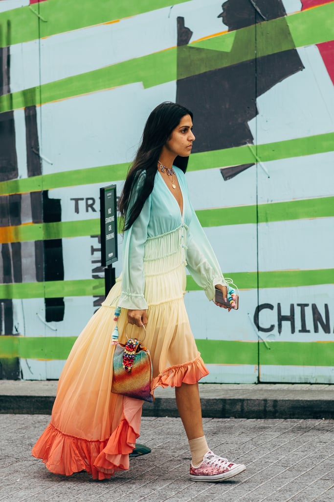 An ombre rainbow-hued dress seems made for summer, no?