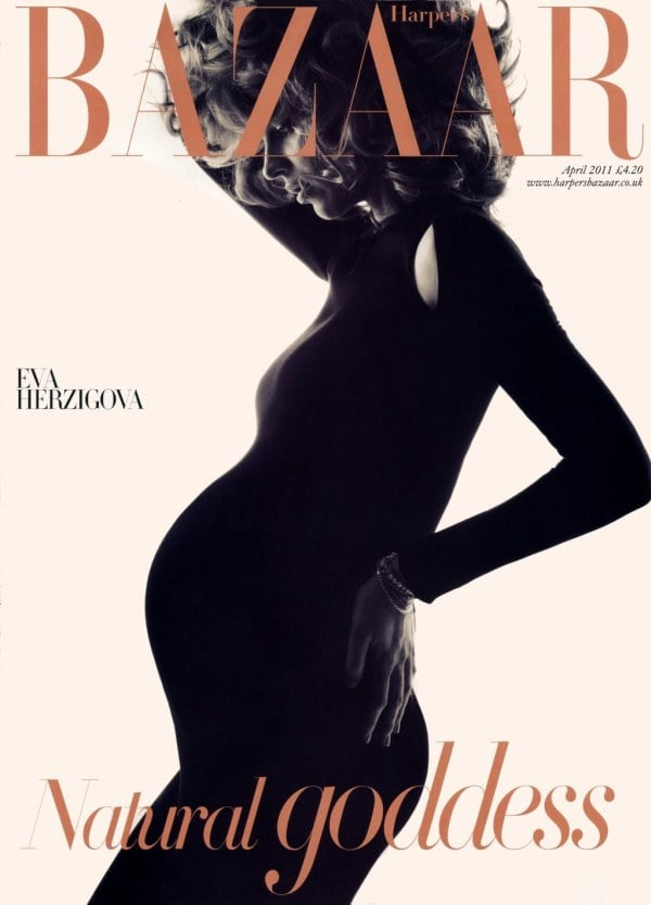 Photos of Pregnant Eva Herzigova for Harper's Bazaar UK