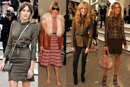 Sarah Jessica Parker, Alexa Chung and Anna Wintour at the 2011 Spring Burberry Show