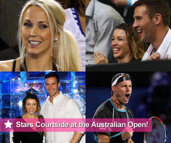 Dannii Minogue, Kris Smith, Bec Cartwright, Lleyton Hewitt and David Nalbandian at the 2011 Australian Open