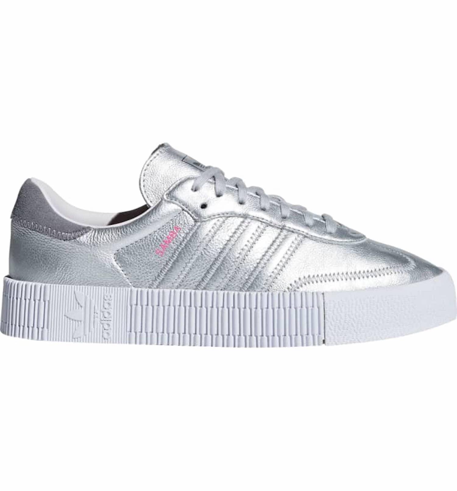 Adidas Silver Samba Sneakers   POPSUGAR