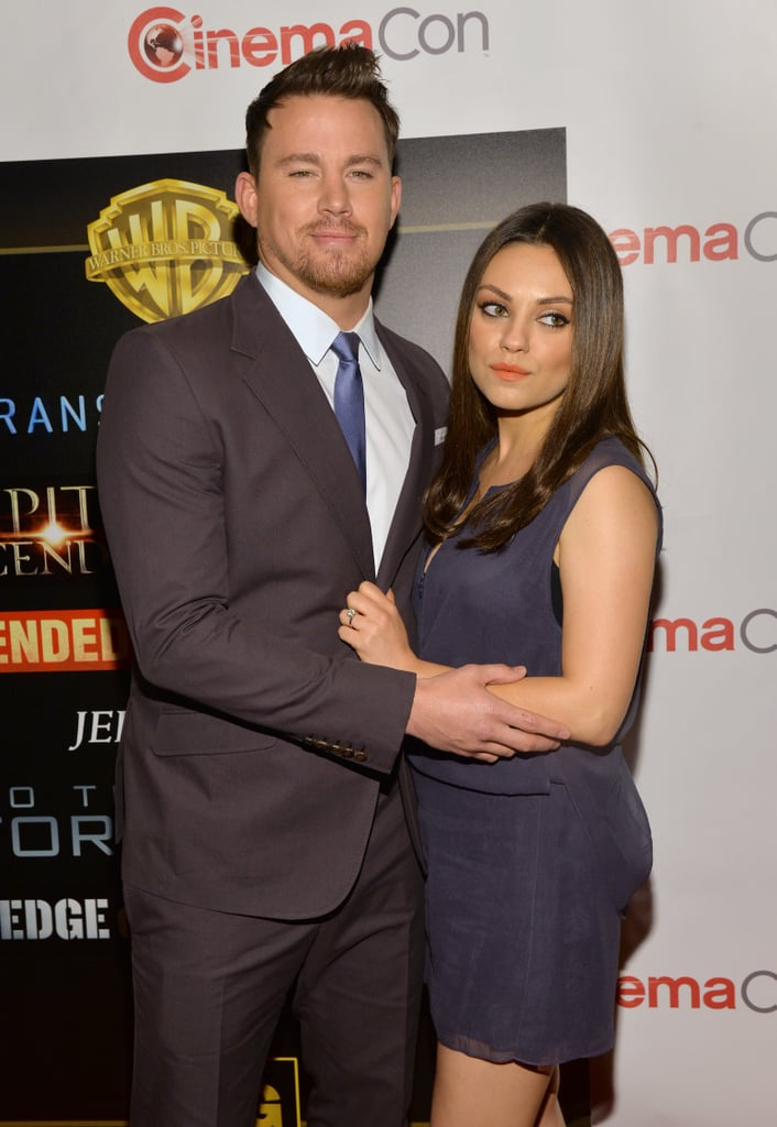 Mila Kunis and Channing Tatum headed to CinemaCon in Las Vegas on Thursday night to promote their new film, Jupiter Ascending. In addition to the fact that Mila was already glowing, she gave us another look at her engagement ring and the beginnings of her baby bump. The news of Mila's pregnancy broke just this past weekend, and we even caught a first glimpse during her outing with Ashton. The exciting news tops off a memorable month for the couple, who got engaged at the end of February and celebrated it all with an adorable kiss-cam moment. Keep scrolling to get another look at Mila's bump!