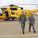 Prince William and Prince Charles headed back towards the base after checking out the RAF Rescue helicopter.